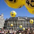 Superbe ambiance sur la Grand Place à Bruxelles le 4 juillet 2019 lors de la présentation des équipes du Tour de France 2019.