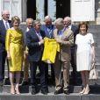 Le roi Philippe de Belgique et sa femme la reine Mathilde de Belgique ont reçu le champion Eddy Merckx et sa famille à l'occasion du 50ème anniversaire de sa première victoire dans le Tour de France le 5 juillet 2019 au château de Laeken à Bruxelles à la veille du départ du Tour 2019.