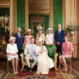 Meghan Markle, duchesse de Sussex, et le prince Harry lors du baptême de leur fils Archie Mountbatten-Windsor le 6 juillet 2019 dans le Salon Vert au château de Windsor, entourés de la duchesse Camilla de Cornouailles, la duchesse Catherine de Cambridge, le prince Charles, Doria Ragland, Lady Jane Fellowes, Lady Sarah McCorquodale et le prince William, photographiés par Chris Allerton. ©Chris Allerton/SussexRoyal/PA Photos/ABACAPRESS.COM