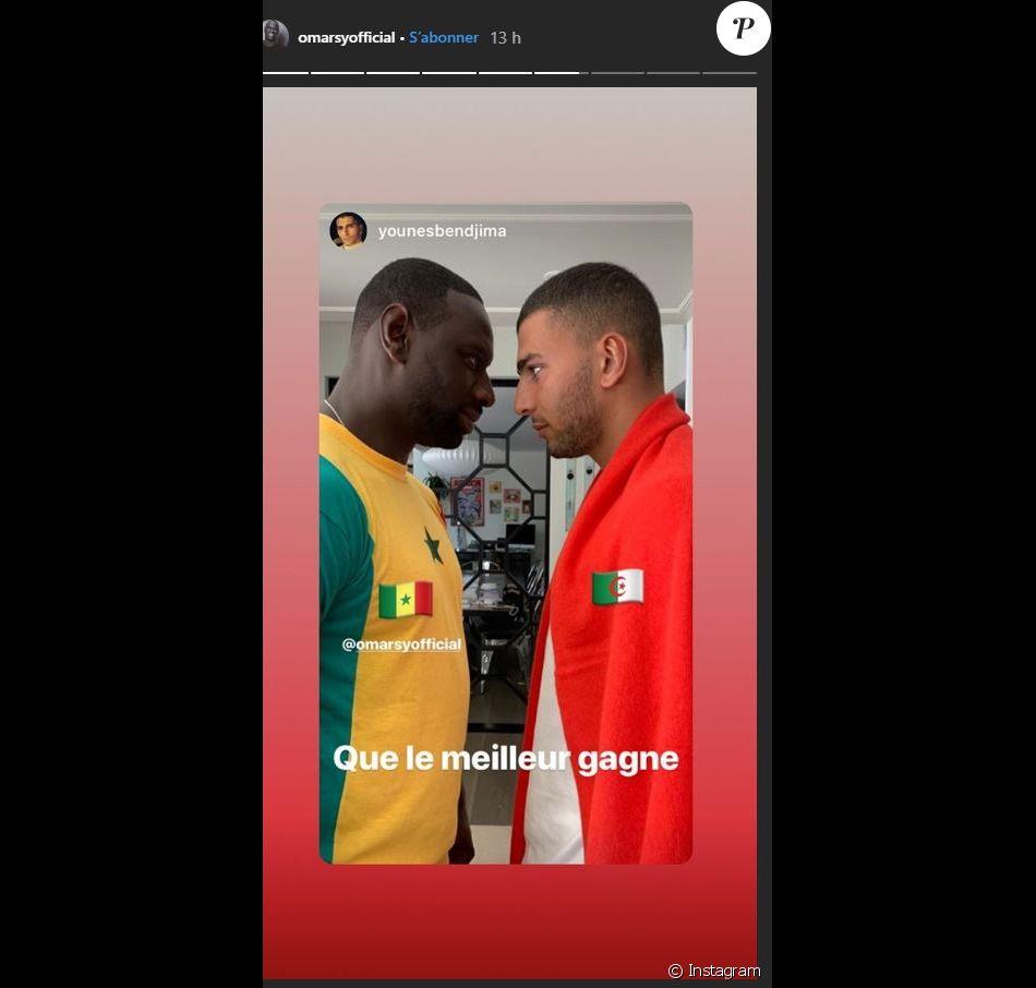 Omar Sy et Younes Bendjima ensemble pour regarder le match de foot opposant le Sénégal et l'Algérie  en finale de la Coupe du monde d'Afrique.