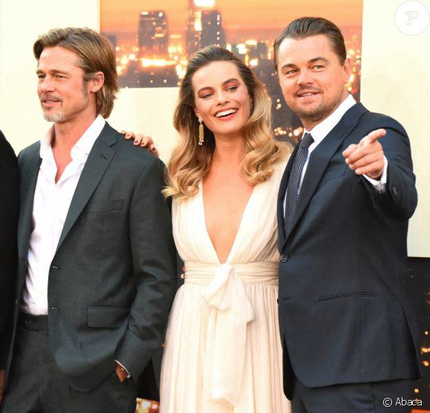 """Quentin Tarantino, Brad Pitt, Margot Robbie et Leonardo DiCaprio à la première de """"Once Upon a Time... in Hollywood"""" à Los Angeles, le 22 juillet 2019."""