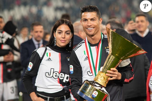 Cristiano Ronaldo, sa compagne Georgina Rodriguez - C. Ronaldo fête en famille le titre de champion d'Italie avec son équipe la Juventus de Turin à Turin le 19 Mai 2019.