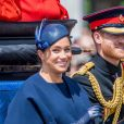 Le prince Harry, duc de Sussex, et Meghan Markle, duchesse de Sussex, première apparition publique de la duchesse depuis la naissance du bébé royal Archie lors de la parade Trooping the Colour 2019, célébrant le 93ème anniversaire de la reine Elisabeth II, au palais de Buckingham, Londres, le 8 juin 2019.  Trooping the Color 2019 parade, celebrating the 93rd birthday of Queen Elizabeth II, at Buckingham Palace, London, June 8, 2019.08/06/2019 - Londres