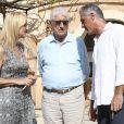 Ana María Parera et Toni Nadal, la mère et l'oncle de Rafael Nadal, lors d'un déjeuner avec le roi Juan Carlos Ier et la reine Sofia d'Espagne à Majorque le 26 juillet 2019.