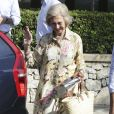 La reine Sofia d'Espagne lors d'une rencontre avec la famille Nadal à Majorque le 26 juillet 2019.