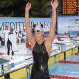 Federica Pellegrini aux Jeux Méditerranéens de Pescara (Italie), le 27 juin 2009 : elle vient de battre le record du monde du 400 mètres nage libre - dames