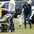 Mike Tindall, Zara Tindall (Phillips) et leur fille Lena lors du Festival of British Eventing à Gatcombe Park le 4 août 2019.