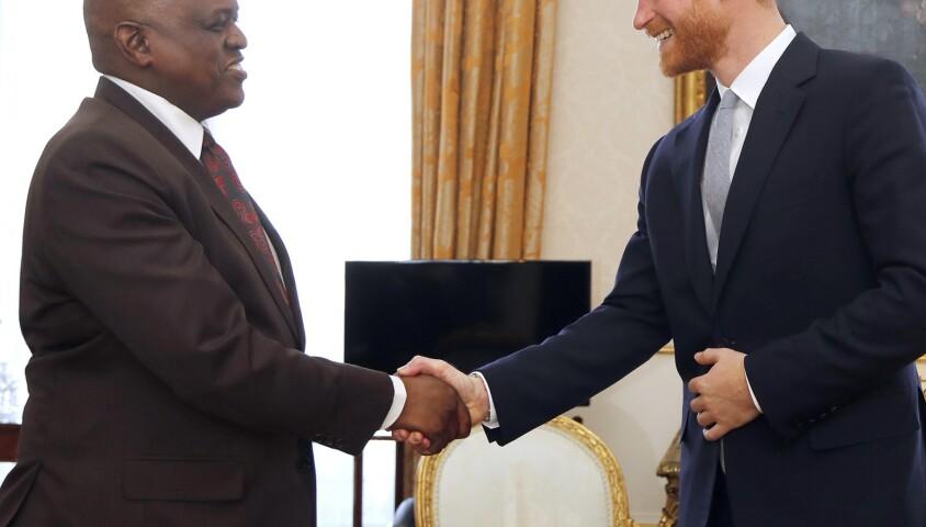"""Le prince Harry en audience avec le président du Botswana Mokgweetsi au palais de Buckingham lors du """"Commonwealth Heads of Government Meeting"""" à Londres. Le 17 avril 2018"""