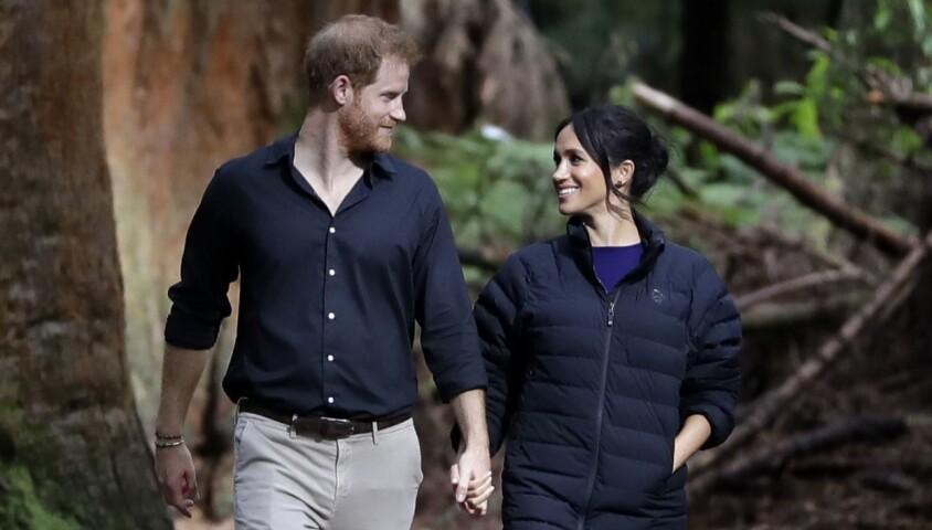 Le prince Harry, duc de Sussex et Meghan Markle, duchesse de Sussex (enceinte) visitent le site Redwoods Tree Walk à Rotorua, Nouvelle Zélande le 31 octobre 2018.
