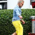 Gianluca Vacchi vêtu d'un pantalon jaune se promène dans les rues de Miami Le 05 Janvier 2019 Miami
