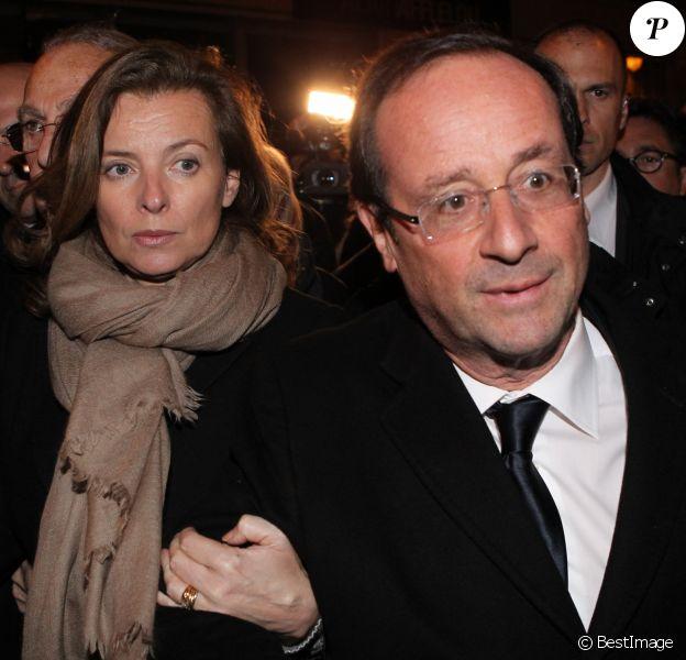 Valérie Trierweiler et François Hollande à la synagogue Nazareth à Paris, le 19 mars 2012