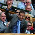 Pete Sempras, le 5 juillet 2009, lors de la finale du tournoi de Wimbledon opposant Roger Federer et Andy Roddick