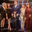 Cristiano Ronaldo entouré de ses soeurs Katia et Elma, leur mère Dolores, son fils aîné Cristiano Jr et sa compagne Georgina Rodriguez lors de la soirée des FIFA Awards. Zurich le 9 janvier 2017.