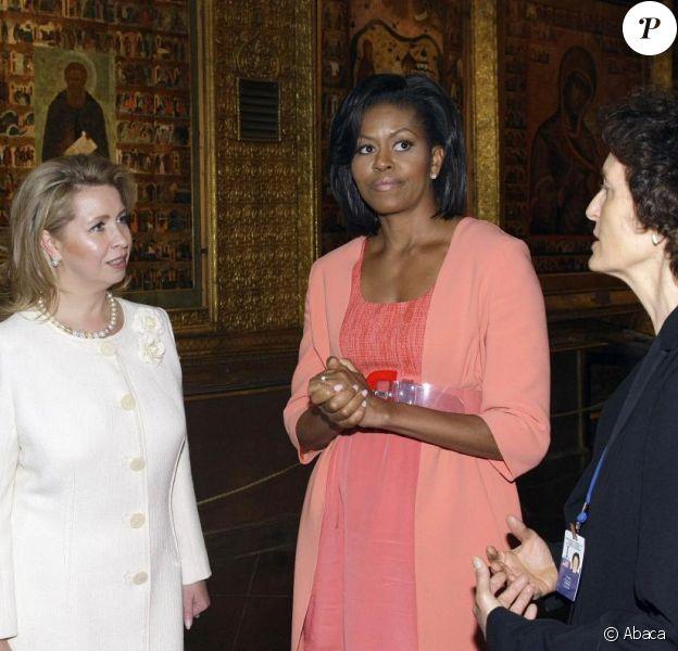 Michelle Obama et Svetlana Medvedeva visitent la cathédrale de la Dormition. 06/07/09