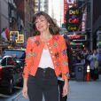 Milla Jovovich arrive à l'émission Good Morning America pour la promotion du film Hellboy à New York le 10 avril 2019.