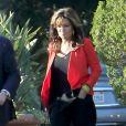"""Sarah Palin arrive pour une apparition sur le plateau de l'émission """"Extra"""" aux Studios Universal à Los Angeles le 4 décembre 2015. © CPA/Bestimage"""