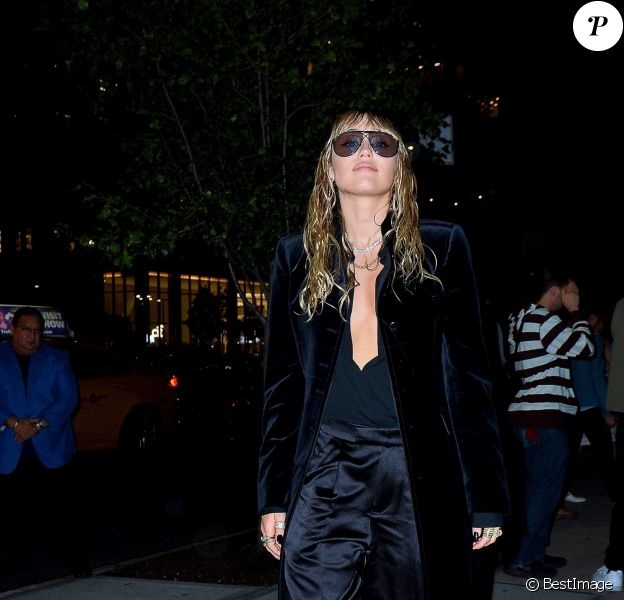 Miley Cyrus à la sortie du défilé de mode Tom Ford lors de la Fashion Week 2019 à New York, le 9 septembre 2019