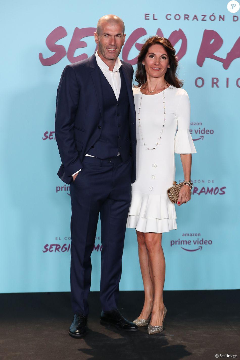 """Zinedine Zidane et sa femme Véronique lors de la première du documentaire """"Le coeur de Sergio Ramos"""" à Madrid le 10 septembre 2019"""