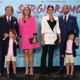"""Jose Maria et Paqui Ramos avec leur fille Miriam Ramos, son compagnon Carlos Muela et leurs fils lors de la première du documentaire """"Le coeur de Sergio Ramos"""" à Madrid le 10 septembre 2019."""