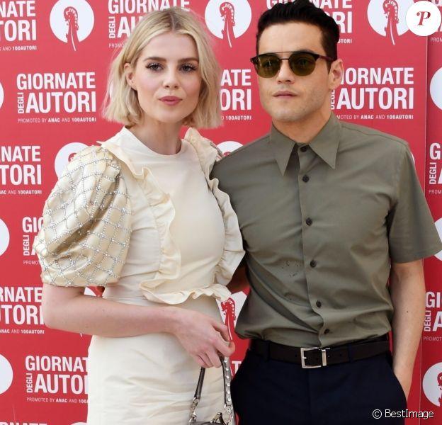 Rami Malek et sa compagne Lucy Boynton à la soirée Miu Miu en marge de la 76ème édition du festival du film de Venise, la Mostra, au Sala Volpi à Venise, Italie, le 1er septembre 2019. e