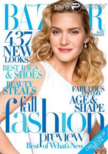 Kate Winslet en couverture du magazine  Harper's Bazaar  du mois d'août.