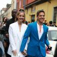 Barbara Palvin et son compagnon Dylan Sprouse - People à la sortie du défilé Hugo Boss Collection Prêt-à-Porter Printemps/Eté 2020 lors de la Fashion Week de Milan, le 22 septembre 2019.