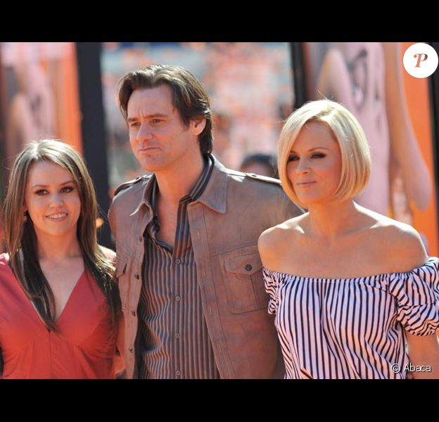 Jane Carrey avec son père Jim Carrey et Jenny McCarthy en mars 2008