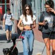 Emily Ratajkowski promène son chien Colombo dans les rues de New York, le 22 septembre 2019  New York, NY - Emily Ratajkowski shows off her abs while out walking her dog. Emily looks great in a white crop top, blue jeans, and Nike sneakers while enjoying the sunny NYC day. 22nd september 201922/09/2019 - New York