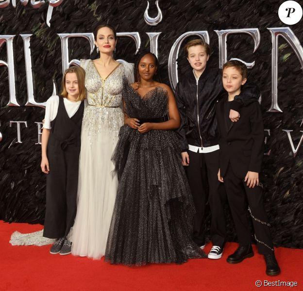 Angelina Jolie avec ses enfants Zahara, Shiloh, Vivienne et Knox09/10/2019 - Londres