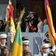 Le roi Felipe VI d'Espagne, la reine Letizia, la princesse Sofia et la princesse Leonor Illustration - La famille royale d'Espagne assiste à la parade militaire le jour de la fête nationale espagnole à Madrid le 12 octobre 2019