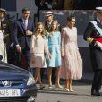 Le roi Felipe VI d'Espagne, la reine Letizia, la princesse Sofia et la princesse Leonor - La famille royale d'Espagne assiste à la parade militaire puis à la réception au palais royal le jour de la fête nationale espagnole à Madrid le 12 octobre 2019