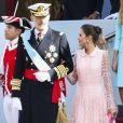 Le roi Felipe VI d'Espagne et la reine Letizia d'Espagne - La famille royale d'Espagne assiste à la parade militaire le jour de la fête nationale espagnole à Madrid, le 12 octobre 2019.