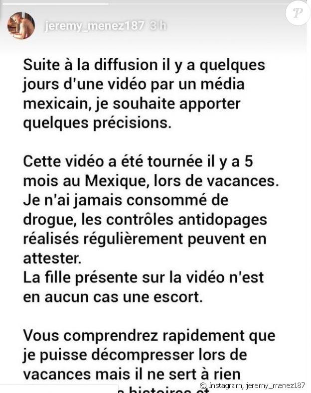 Extrait du message publié par Jérémy Ménez dans ses stories Instagram le 14 octobre 2019.