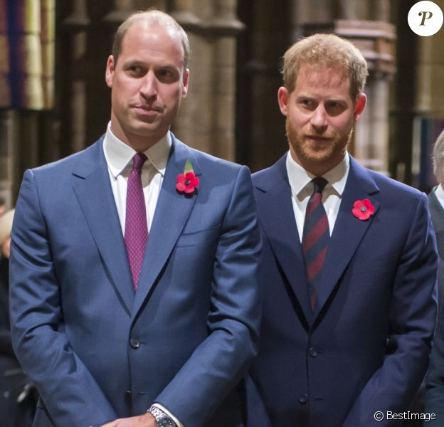 Le prince William, le prince Harry, Meghan Markle et Kate Middleton à l'abbaye de Westminster le 11 novembre 2018