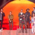 """Les coachs accompagnés de Mika, Florent Pagny et Christophe Maé - Finale de """"The Voice Kids 2019"""" sur TF1. Le 25 octobre 2019."""