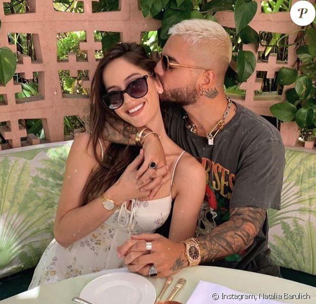 Natalia Barulich et son ex-compagnon Maluma à Beverly Hills. Août 2019.