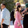 Exclusif - Selena Gomez, habillée d'une robe Jacquemus, fait la promotion de ses nouveaux singles à Los Angeles, le 24 octobre 2019.