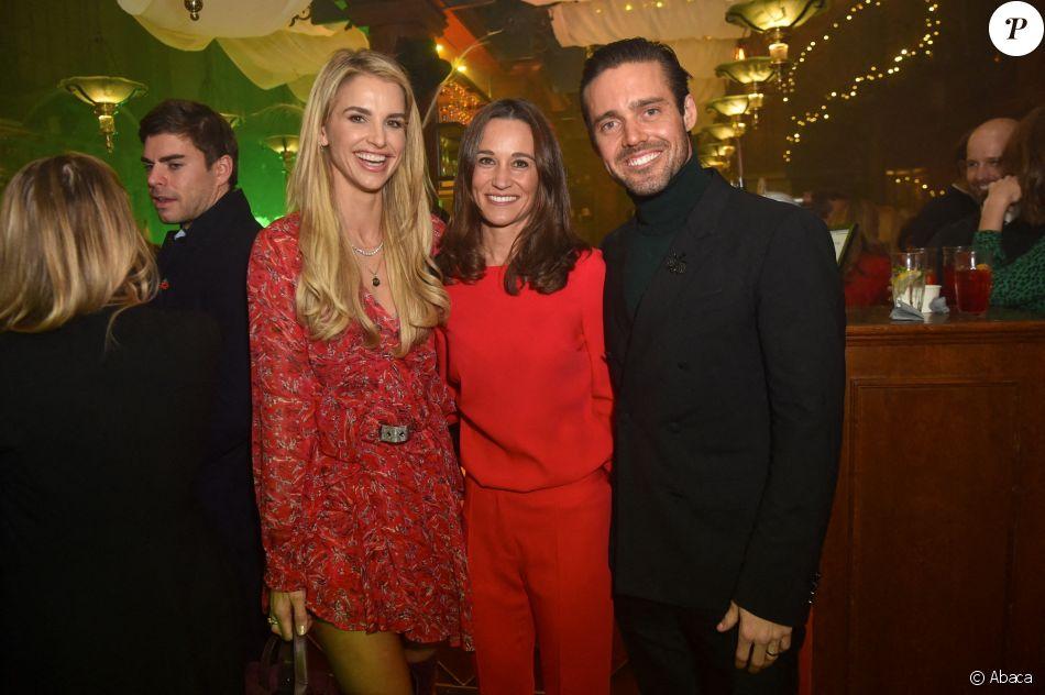 Pippa Middleton, son beau-frère Spencer Matthews et son épouse Vogue Williams lors d'une soirée à Londres, au Trading House, le 12 novembre 2019.
