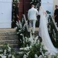 Devon Windsor et son père Charles Windsor lors du mariage du mannequin et Johnny Dex à Saint-Barthélemy, le 16 novembre 2019.