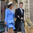 Louis Ducruet et sa femme Marie - La famille princière de Monaco arrive à la cathédrale Notre-Dame-Immaculée lors de la fête Nationale monégasque à Monaco le 19 novembre 2019. © Dominique Jacovides/Bestimage
