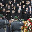 Angela Merkel, Joachim Gauck, Richard von Weizsaecker, Marianne von Weizsaecker - Obsèques de l'ancien président de la république fédérale d'Allemagne Richard von Weizsäcker en la cathédrale de Berlin en Allemagne le 11 février 2015.