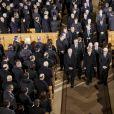 Hesse Volker Bouffier, Angela Merkel, Norbert Lammert, Frank-Walter Steinmeier - Obsèques de l'ancien président de la république fédérale d'Allemagne Richard von Weizsäcker en la cathédrale de Berlin en Allemagne le 11 février 2015.