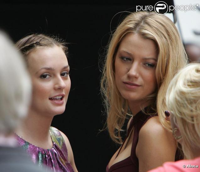 Leighton Meester et Blake Lively en plein tournage de la troisième saison de Gossip Girl à New York