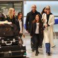 Françoise Thibault, la mère de Laeticia Hallyday, Jade, Jimmy Refas, Joy, Laeticia Hallyday - Laeticia Hallyday arrive en famille avec ses filles et sa mère à l'aéroport Roissy CDG le 19 novembre 2019
