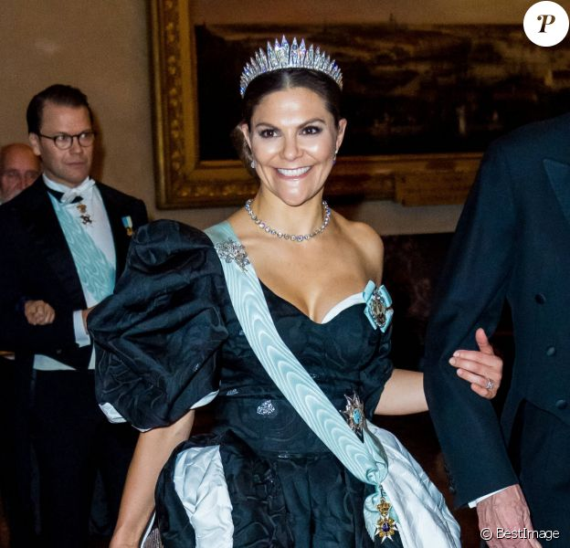 Michel Mayor, la princesse Victoria de Suède - Réception de la cérémonie annuelle du Prix Nobel à l'hôtel de ville de Stockholm, le 10 décembre 2019.