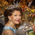 La reine Silvia de Suède - Réception de la cérémonie annuelle du Prix Nobel à l'hôtel de ville de Stockholm, le 10 décembre 2019.