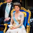 """La reine Silvia de Suède - Cérémonie annuelle du Prix Nobel au """"Stockholm Concert Hall"""", le 10 décembre 2019."""