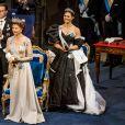 """La reine Silvia de Suède, Le prince Daniel de Suède, la princesse Victoria de Suède - Cérémonie annuelle du Prix Nobel au """"Stockholm Concert Hall"""", le 10 décembre 2019."""