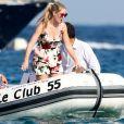 Exclusif - Lady Kitty Spencer, nièce de la princesse Diana, et son compagnon Michael Lewis font un petit tour au Club 55 à Saint-Tropez le 20 août 2019. © Jacovides / Moreau / Bestimage