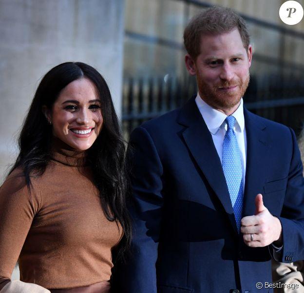 Le prince Harry, duc de Sussex, et Meghan Markle, duchesse de Sussex, en visite à la Canada House à Londres, Royaume Uni, le 7 janvier 2020.